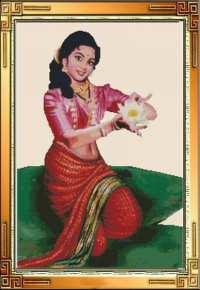 Радха с цветком белого лотоса.