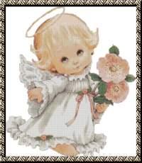 Ангелочек-малыш с цветами.