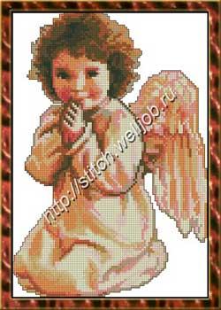 Вышивка ангел с лютней 1122